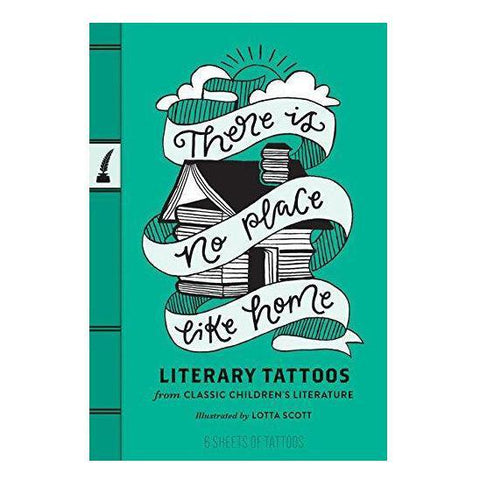 Temporary tattoo set that looks like a book, and is full of quotes from children's books.