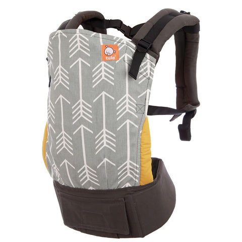Baby carrier with gray and mustard background and white arrows