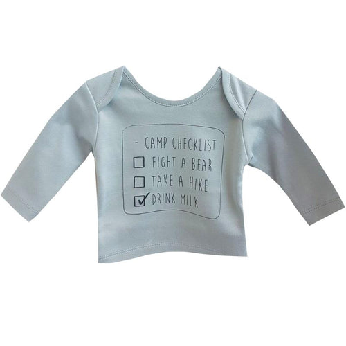 Baby long sleeve light blue graphic tee