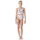 Submarine swim blue floral one piece tween girls swimsuit