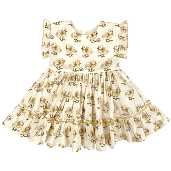 Pink chicken yellow chick short sleeve twirl Easter girls dress