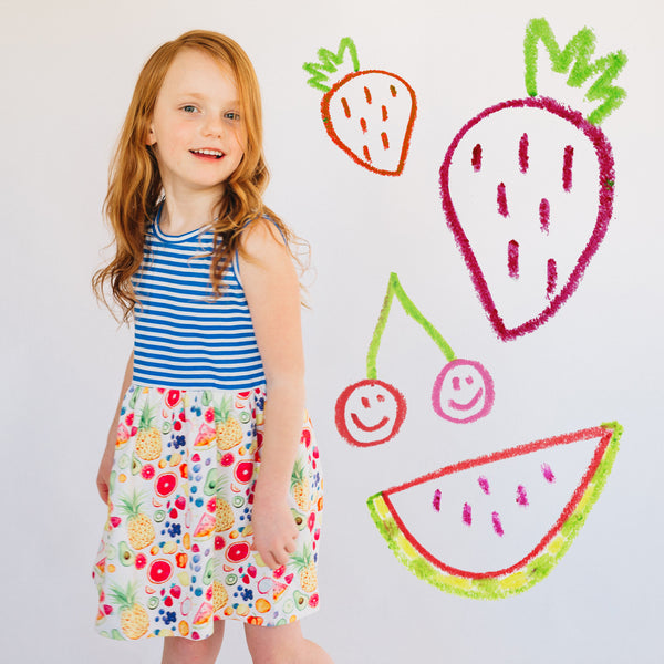 Girls fruit print dress on model