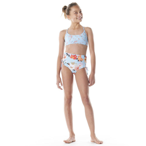 Submarine swim blue floral high waist tween girls bikini swimsuit