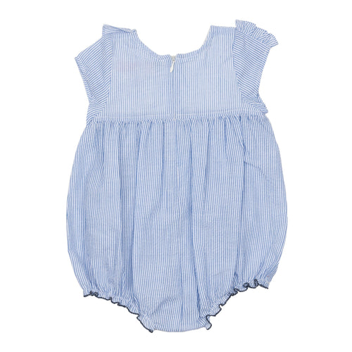 Pink chicken blue seersucker bubble romper for baby girl
