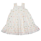 Baby girl ivory dress with colorful dots and stripes