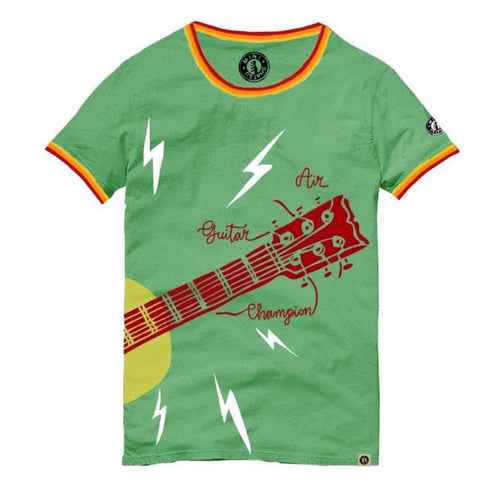 Green short sleeve boys t shirt with air guitar graphic