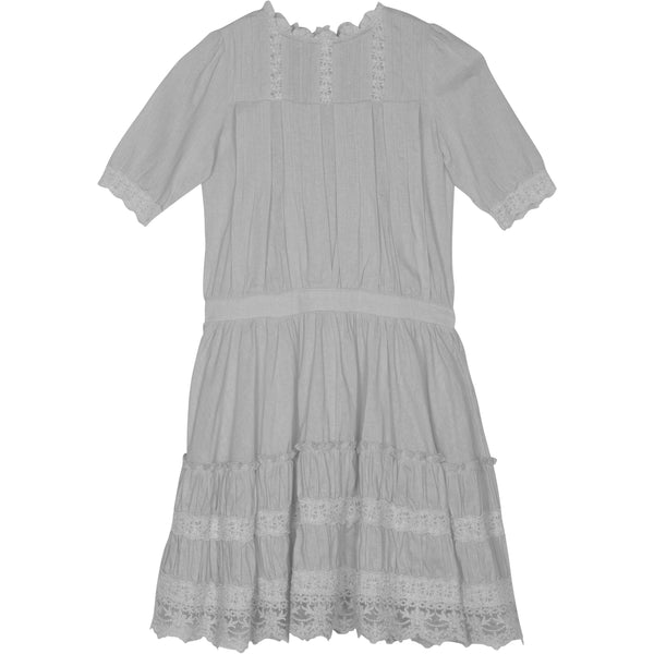 Short sleeve girls lace trim white party dress