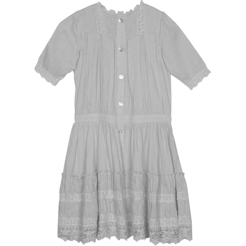 Short sleeve girls white button back lace trim dress
