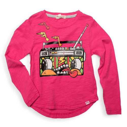 Appaman girls fuchsia long sleeve t-shirt with radio graphic