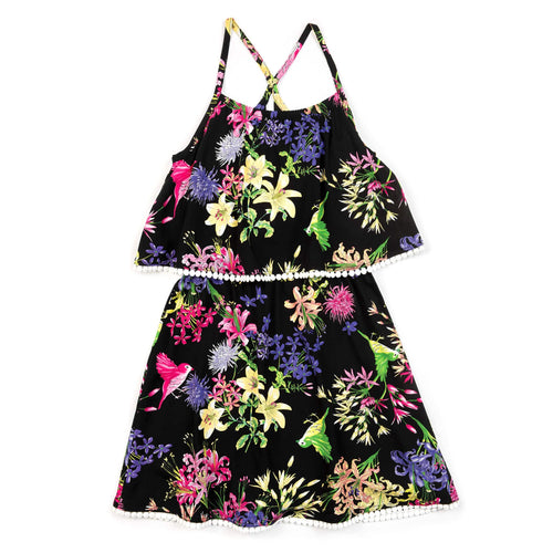 Appaman black floral girls sleeveless dress