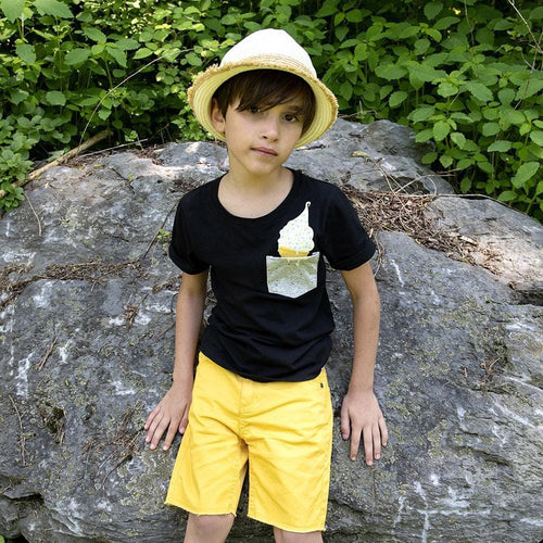 Appaman yellow knee length denim boys shorts