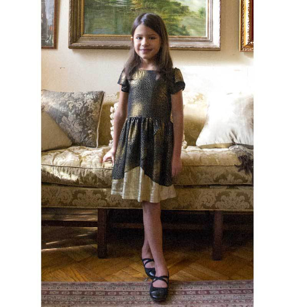 Appaman black and gold party dress for girls