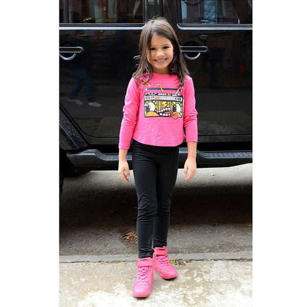 Appaman girls fuchsia long sleeve t-shirt with radio graphic and black leggings