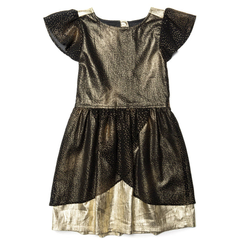 Appaman black and gold short sleeve girls dress