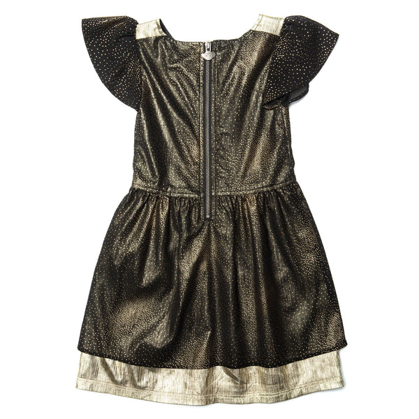 Appaman short sleeve black and gold girls dress