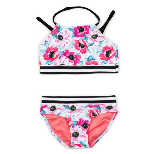 Appaman pink floral girls bikini swimsuit
