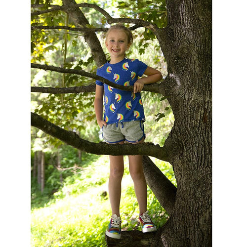 Appaman royal blue unicorn rainbow print short sleeve girl top