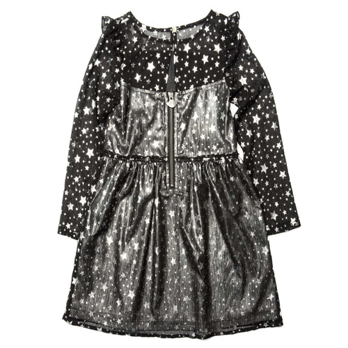 Appaman black star print long sleeve girls dress
