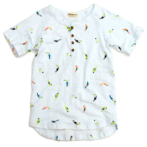 Appaman tropical bird white short sleeve boys henley shirt