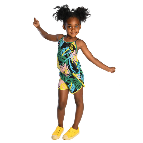 Appaman tropical palm leaf girls tank romper