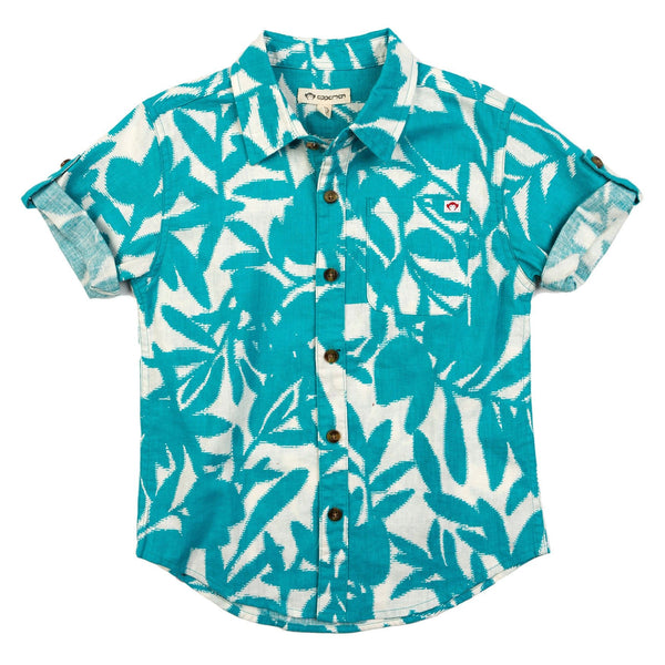 Appaman teal palm leaf button front boys shirt