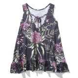 Black sleeveless dress with pink floral print for girls