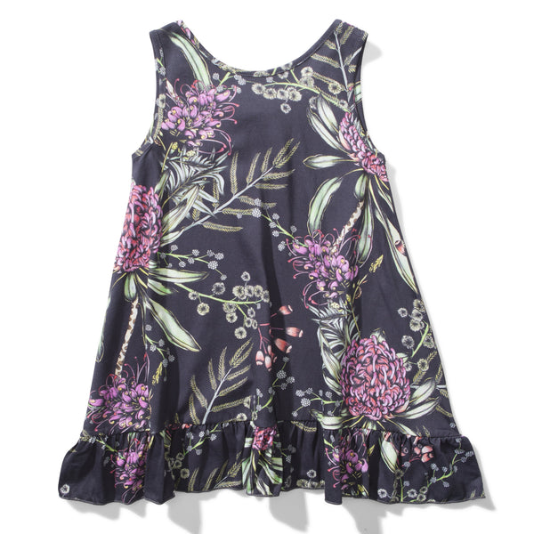 Girls black sleeveless dress with floral print