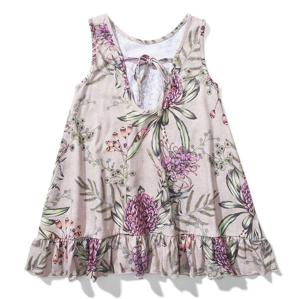 Tan a-line sleeveless dress with pink floral print for girls