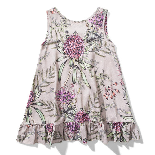 Girls pink sleeveless dress with pink floral print