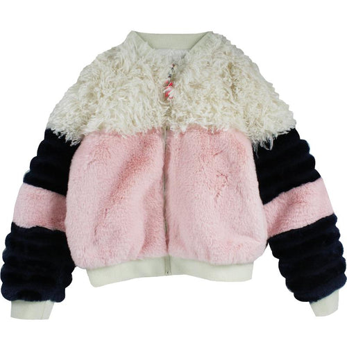 Girls faux fur color blocked jacket pink and navy