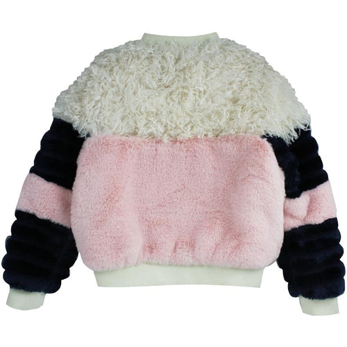 Girls faux fur color blocked jacket