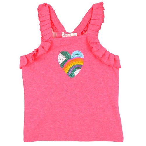 Billieblush Sequin Heart Ruffled Girls Tank Top