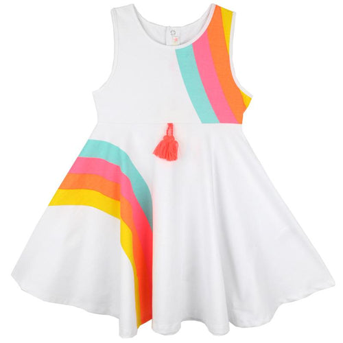 White sleeveless twirl dress with neon rainbow stripes