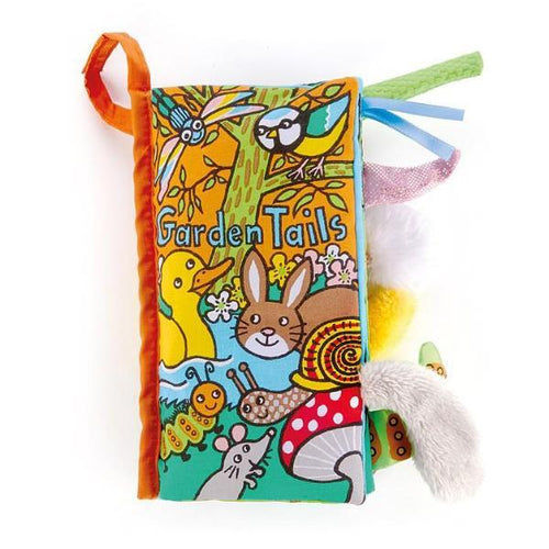 Fabric baby book with tails of garden animals