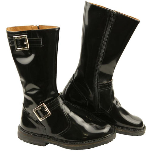 PePe black leather girls boots with buckles