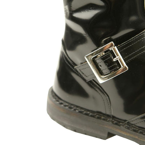 Pepe black patent leather girls boots with buckle
