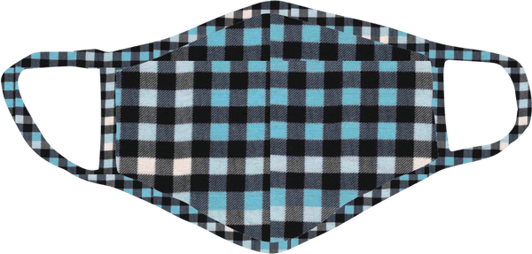 Stoopher Blue Check Face Mask - Teen Size