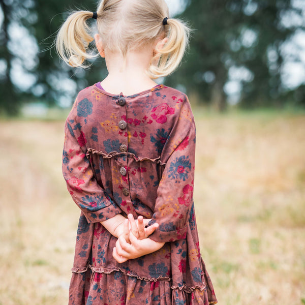 Back of fall floral vintage girls dress
