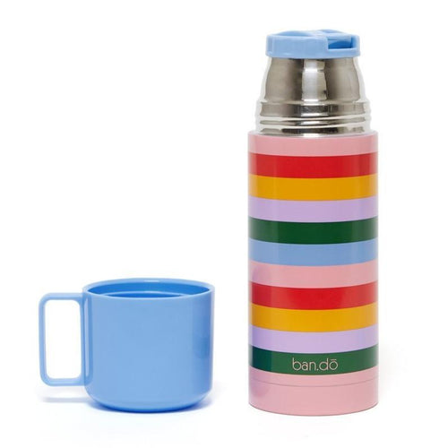 Ban.do multi-striped rainbow kids thermal mug