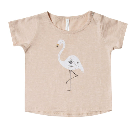 Baby girl light pink short sleeve tee with flamingo graphic