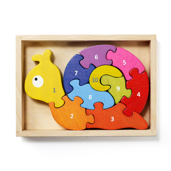 Wooden snail puzzle with 10 numbered pieces