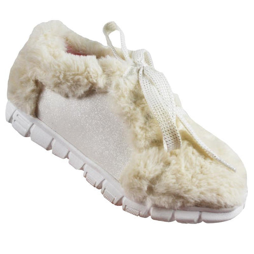 White faux fur girls sneakers