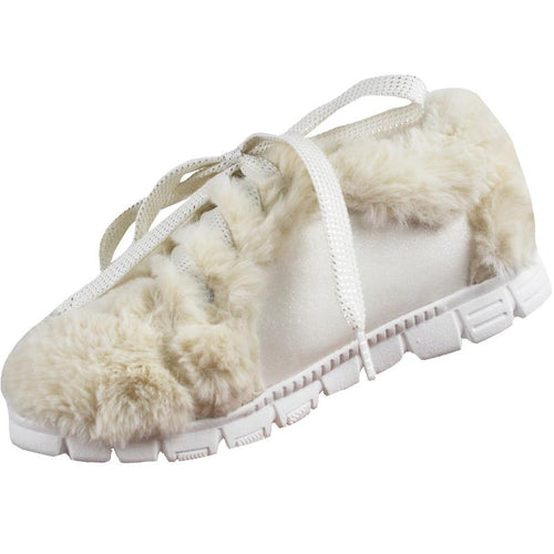 Cream faux fur girls tennis shoes