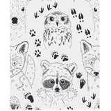 Owl raccoon fox and deer print for baby pajamas