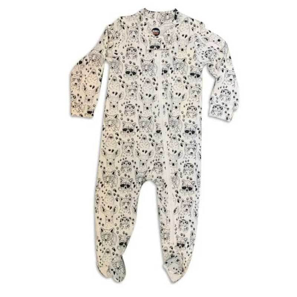 Zipper baby footie pajama with woodland animal print