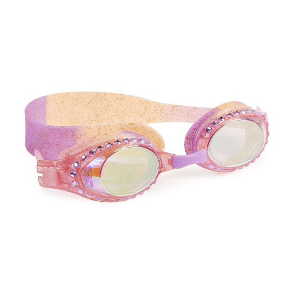 rose and lavender swim goggles with gold glitter
