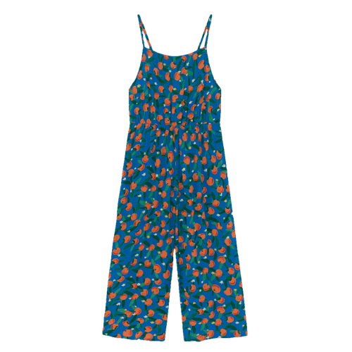 Bobo choses blue orange print girls overalls