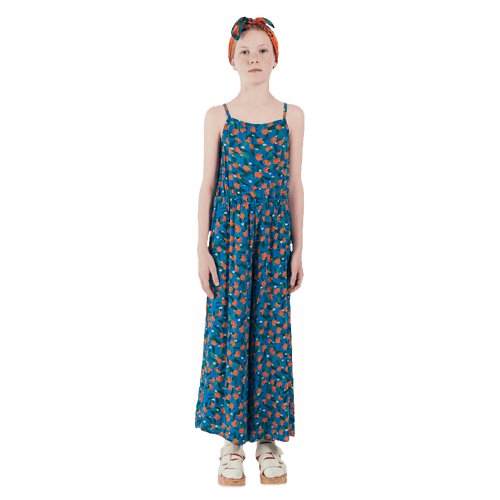 Bobo choses blue orange print girls jumpsuit