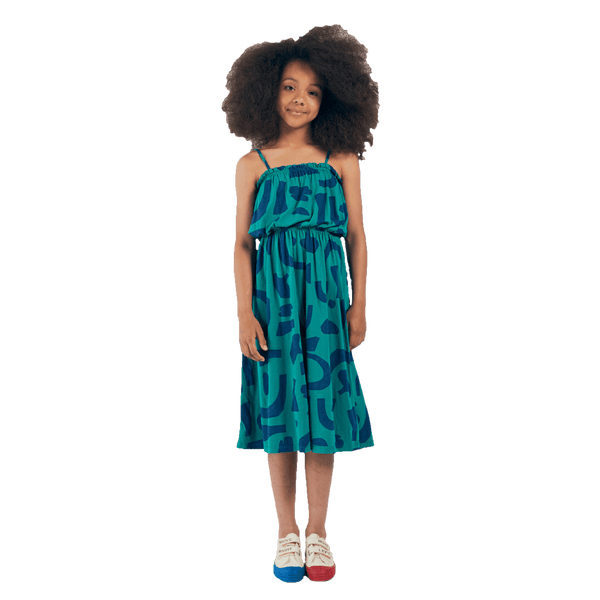 Bobo choses green abstract dress for girls