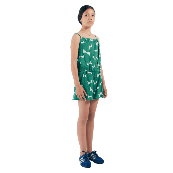 Bobo choses green bow print girls jumpsuit